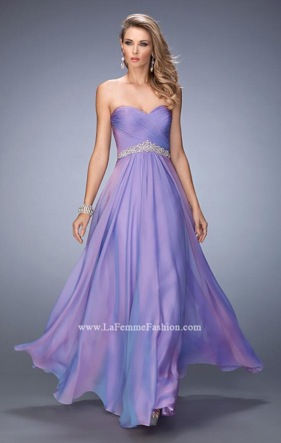Picture of: Chiffon Prom Dress with Crystal and Pearl Detailed Band in Purple, Style: 22382, Detail Picture 1