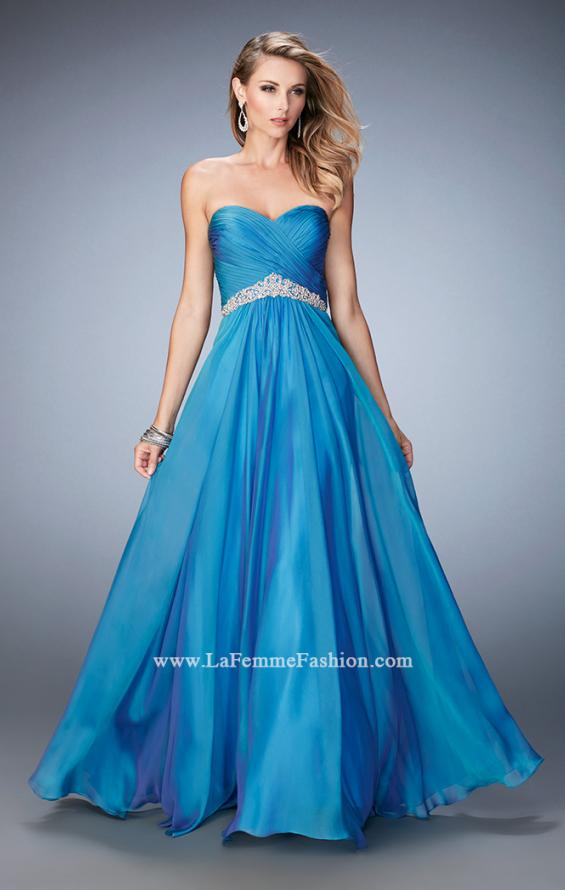 Picture of: Chiffon Prom Dress with Crystal and Pearl Detailed Band in Blue, Style: 22382, Detail Picture 2