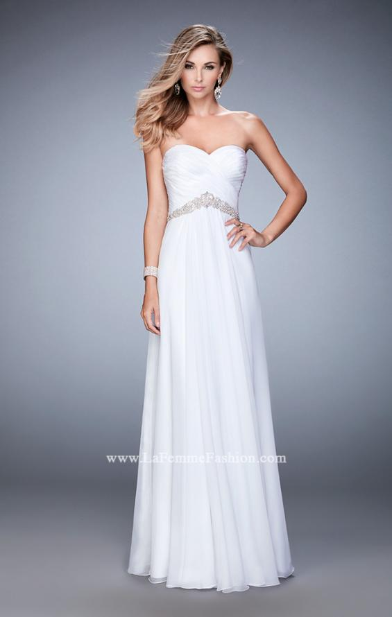 Picture of: Chiffon Prom Dress with Crystal and Pearl Detailed Band in White, Style: 22382, Detail Picture 3