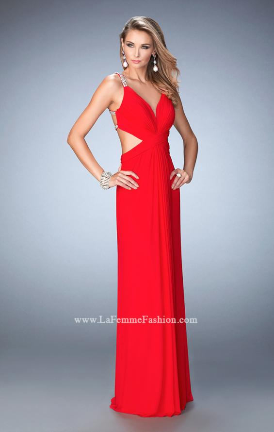 Picture of: Long Prom Gown with V Neck and Crystal Encrusted Straps in Red, Style: 22384, Back Picture