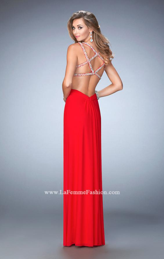 Picture of: Long Prom Gown with V Neck and Crystal Encrusted Straps in Red, Style: 22384, Detail Picture 1