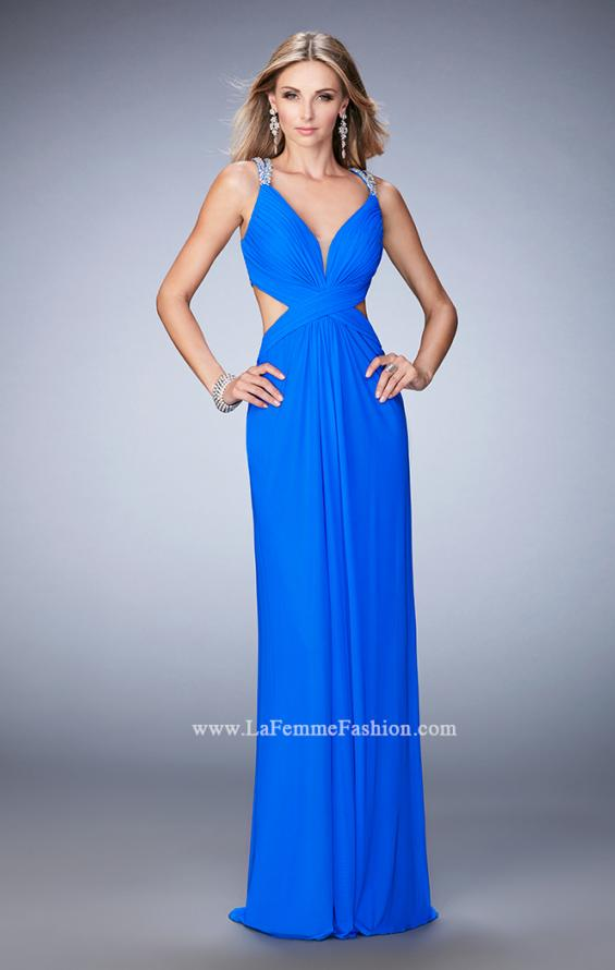 Picture of: Long Prom Gown with V Neck and Crystal Encrusted Straps in Blue, Style: 22384, Detail Picture 2