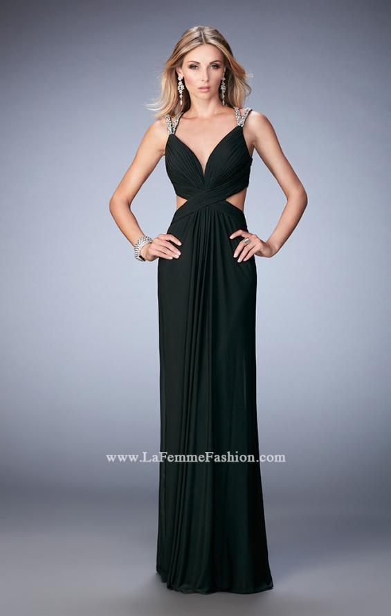 Picture of: Long Prom Gown with V Neck and Crystal Encrusted Straps in Black, Style: 22384, Detail Picture 3