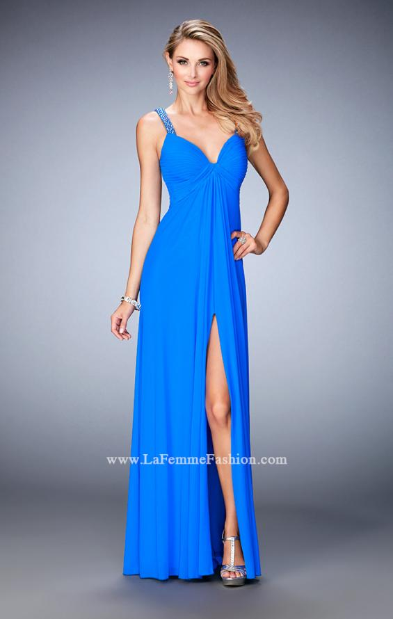 Picture of: Crystal Embellished Gown with Center Slit and Open Back in Blue, Style: 22385, Main Picture