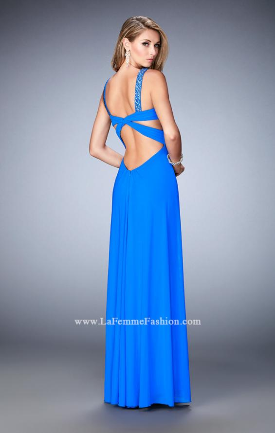Picture of: Crystal Embellished Gown with Center Slit and Open Back in Blue, Style: 22385, Back Picture