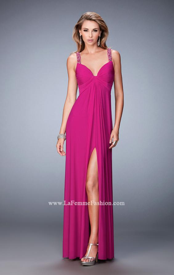 Picture of: Crystal Embellished Gown with Center Slit and Open Back in Pink, Style: 22385, Detail Picture 1