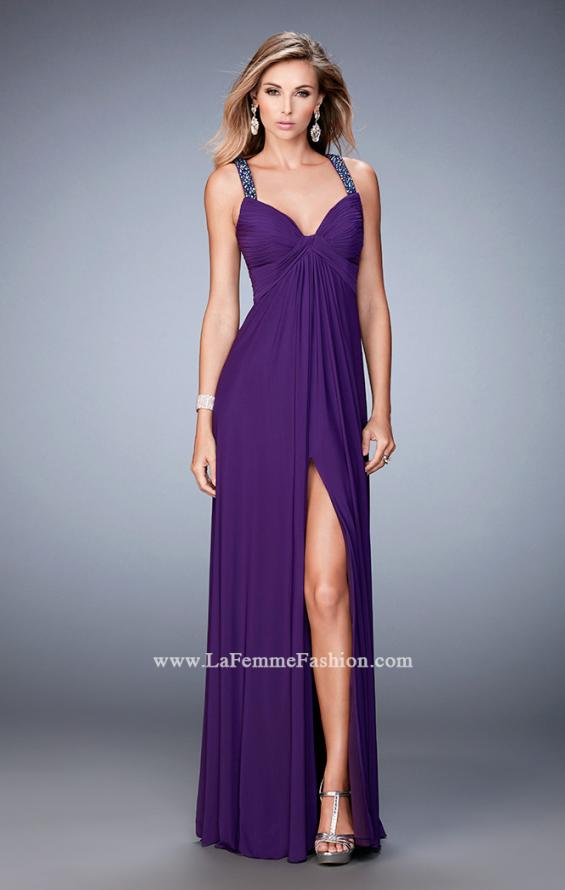 Picture of: Crystal Embellished Gown with Center Slit and Open Back in Purple, Style: 22385, Detail Picture 2