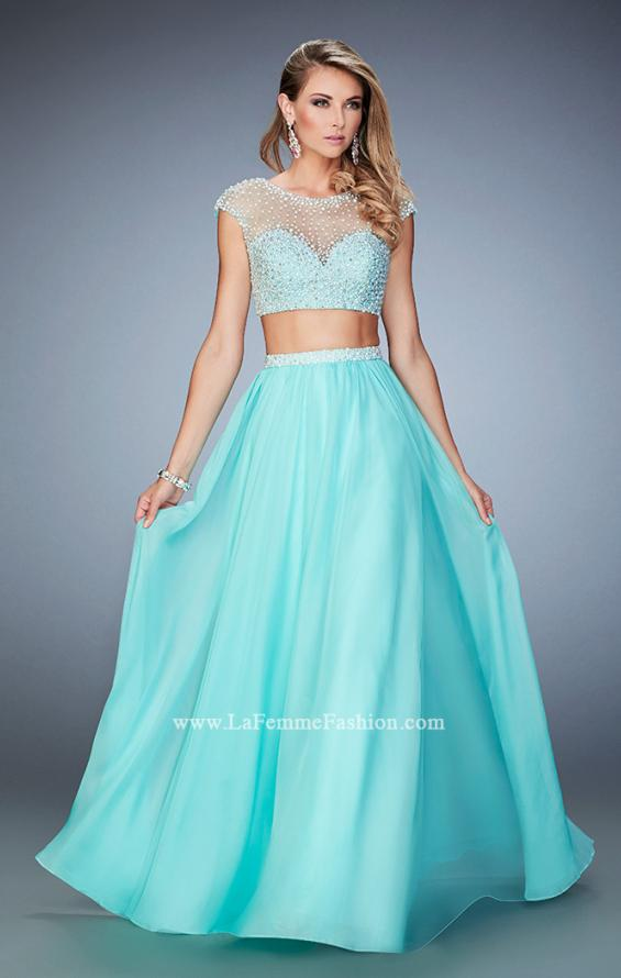Picture of: Two Piece Illusion Neckline Dress with Pearls and Crystals in Blue, Style: 22387, Main Picture