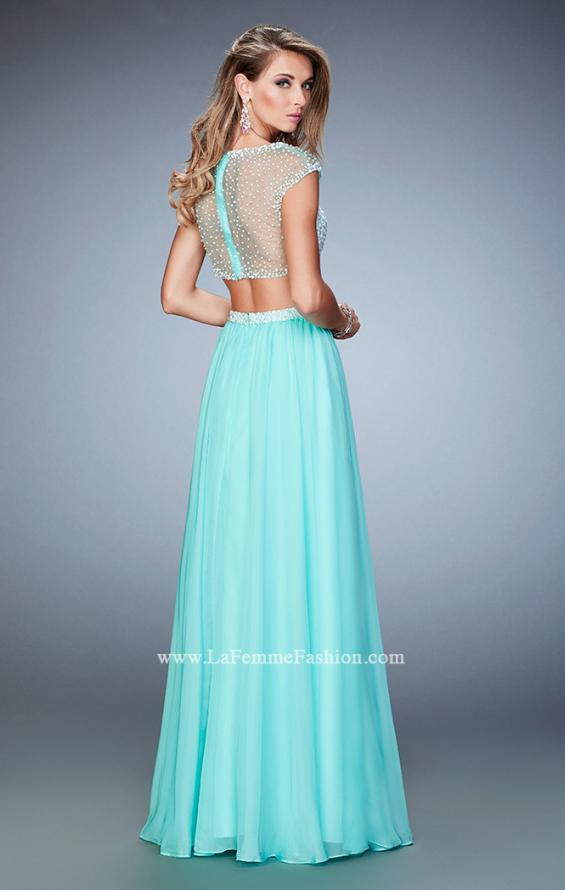 Picture of: Two Piece Illusion Neckline Dress with Pearls and Crystals in Blue, Style: 22387, Back Picture