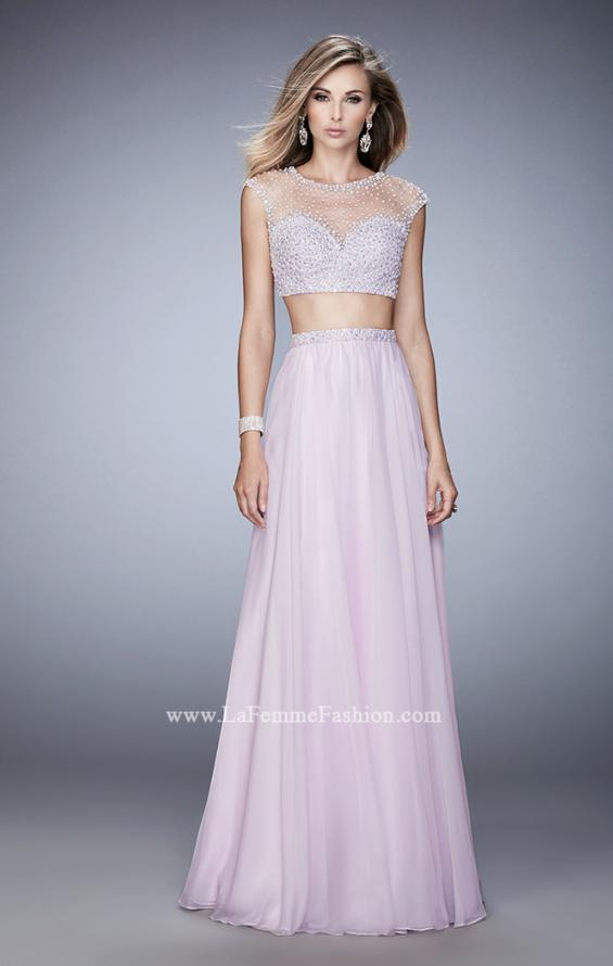 Picture of: Two Piece Illusion Neckline Dress with Pearls and Crystals in Pink, Style: 22387, Detail Picture 1