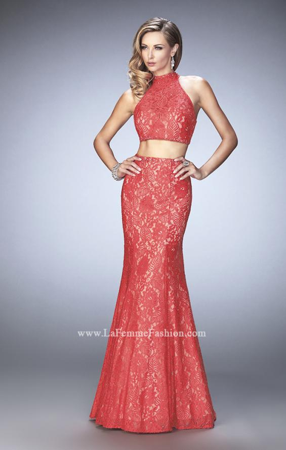 Picture of: Glam Racer Back Two Piece Gown with Rhinestones, Style: 22393, Detail Picture 1