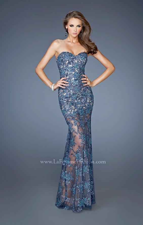Picture of: Beaded Lace Prom Dress with Sheer Skirt in Blue, Style: 22397, Main Picture