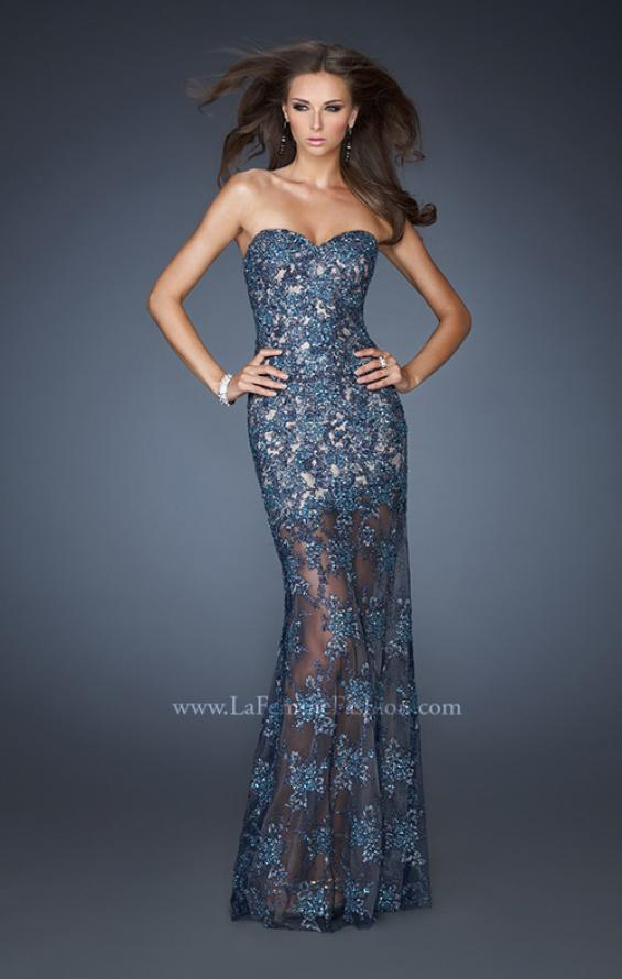 Picture of: Beaded Lace Prom Dress with Sheer Skirt in Blue, Style: 22397, Detail Picture 1