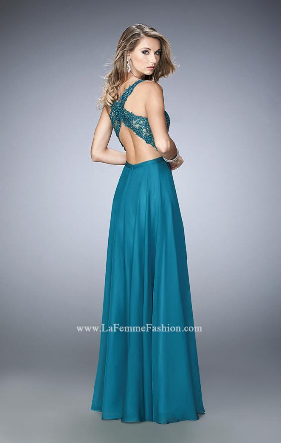 Picture of: Sheer Illusion Neckline Prom Dress with Back X Straps, Style: 22407, Back Picture