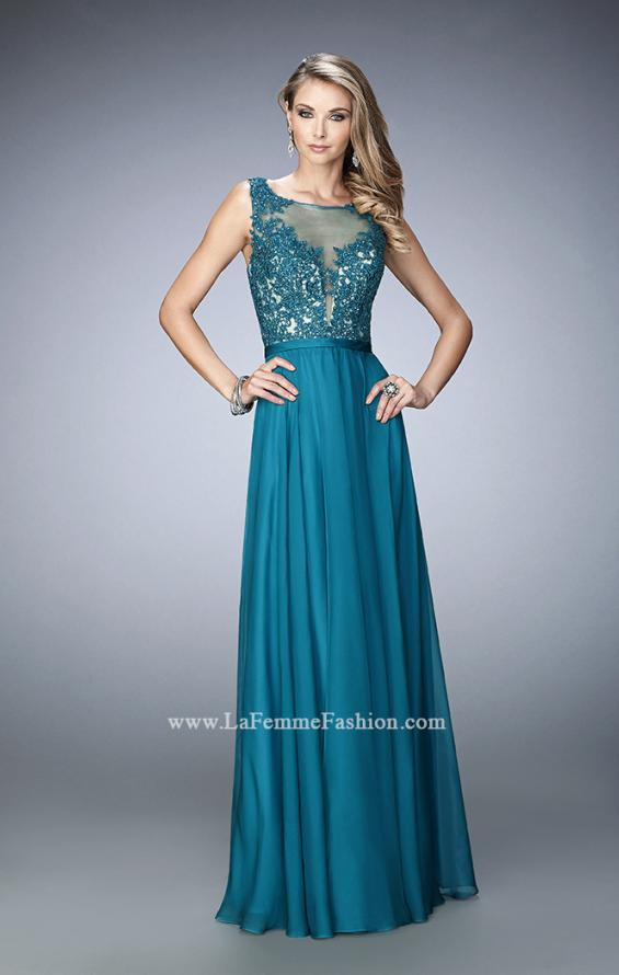 Picture of: Sheer Illusion Neckline Prom Dress with Back X Straps, Style: 22407, Detail Picture 1