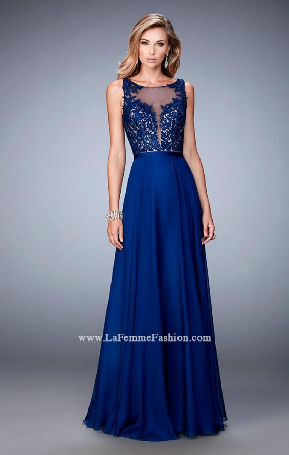 Picture of: Sheer Illusion Neckline Prom Dress with Back X Straps, Style: 22407, Detail Picture 2
