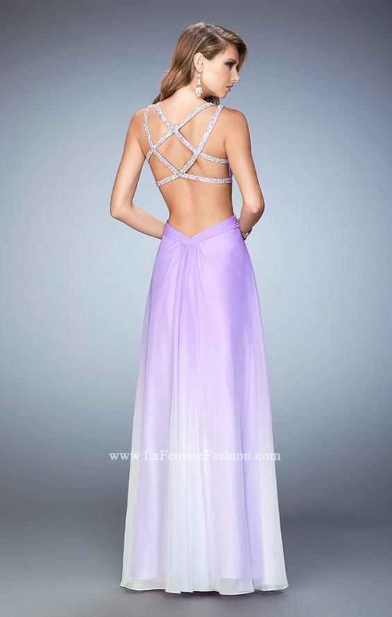 Picture of: Long Ombre Chiffon Prom Dress with Beaded Strappy Back in Purple, Style: 22416, Back Picture