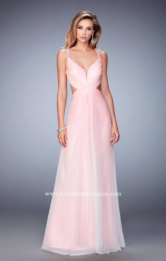 Picture of: Long Ombre Chiffon Prom Dress with Beaded Strappy Back in Pink, Style: 22416, Detail Picture 1