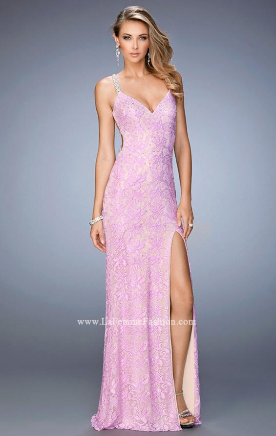 Picture of: V Neckline Lace Prom Dress with Open Strappy Back, Style: 22417, Main Picture