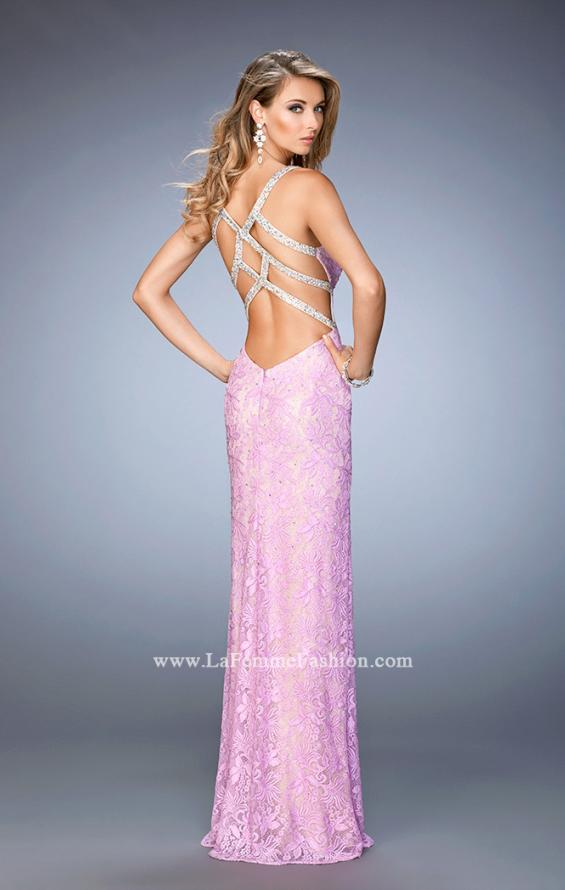 Picture of: V Neckline Lace Prom Dress with Open Strappy Back, Style: 22417, Back Picture