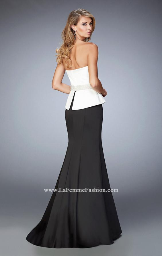 Picture of: Peplum Style Satin Mermaid Gown with Train and Belt, Style: 22418, Back Picture