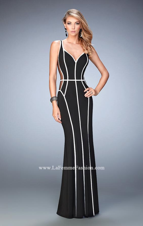 Picture of: Long Jersey Prom Dress with Piping and Sheer Sides in Black, Style: 22419, Main Picture