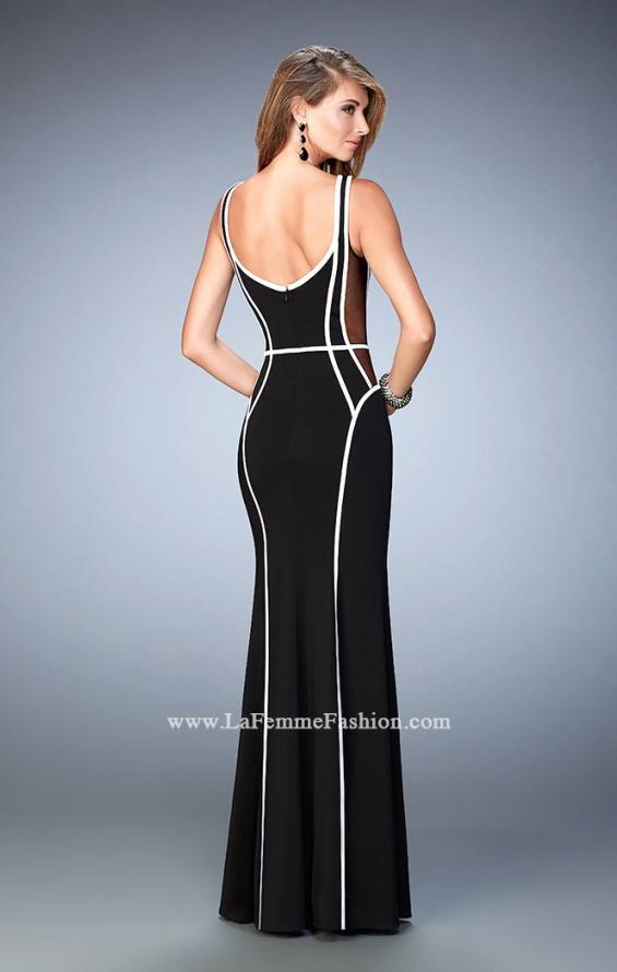 Picture of: Long Jersey Prom Dress with Piping and Sheer Sides in Black, Style: 22419, Back Picture
