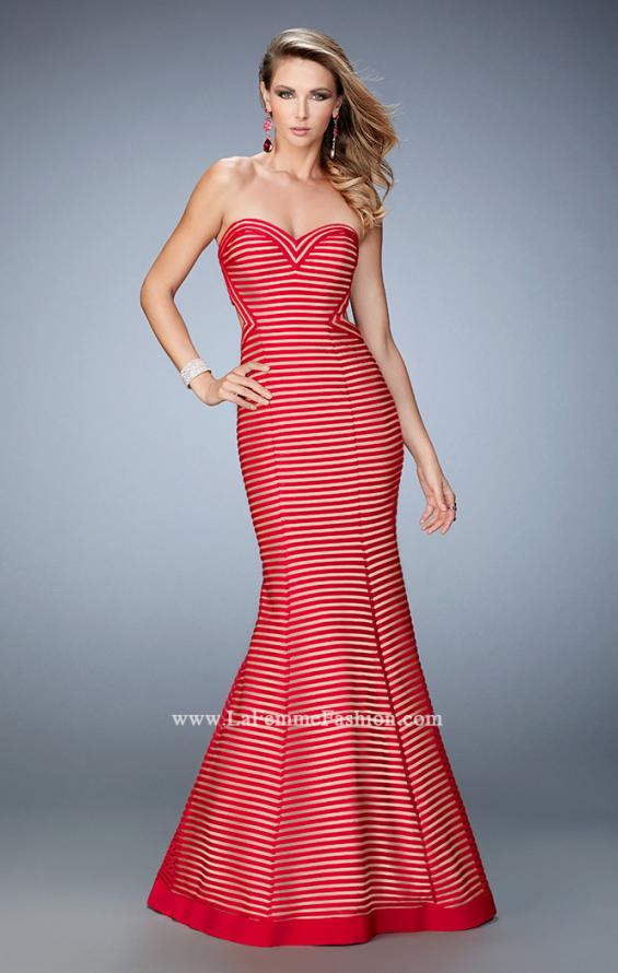 Picture of: Striped Mermaid Prom Dress with Open Back and Cut Outs, Style: 22425, Main Picture