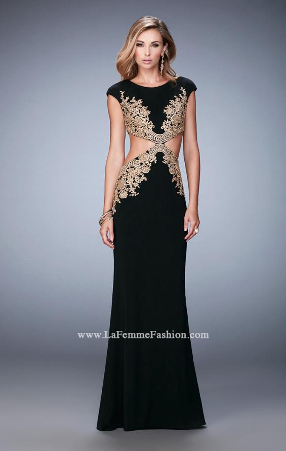 Picture of: Embroidered Jersey Prom Dress with Cut Outs, Style: 22426, Detail Picture 1