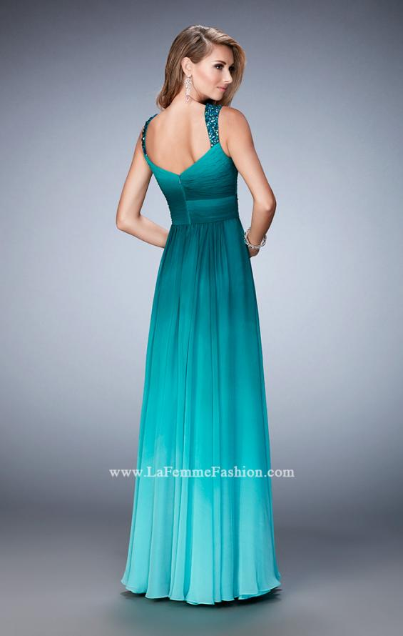 Picture of: Ombre Chiffon Prom Dress with Crystal Encrusted Straps in Green, Style: 22432, Back Picture