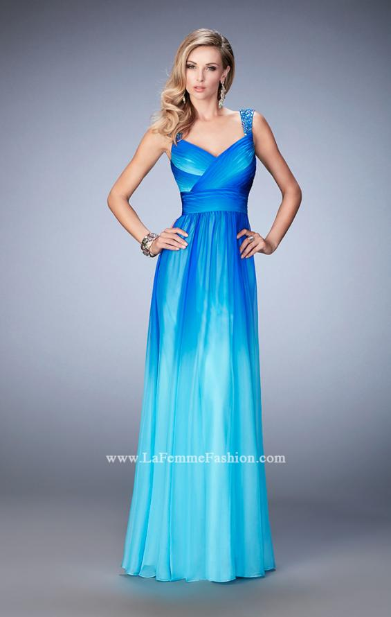 Picture of: Ombre Chiffon Prom Dress with Crystal Encrusted Straps in Blue, Style: 22432, Detail Picture 1