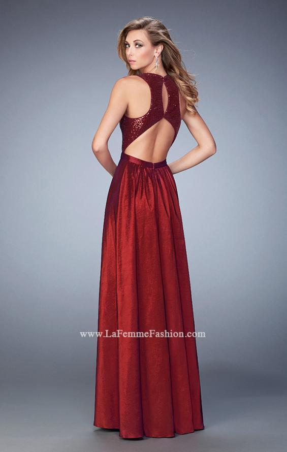 Picture of: Taffeta Prom Gown with Sequined Bodice in Red, Style: 22439, Back Picture