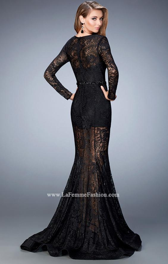 Picture of: Long Sleeve Lace Prom Dress with Body Suit in Black, Style: 22443, Back Picture