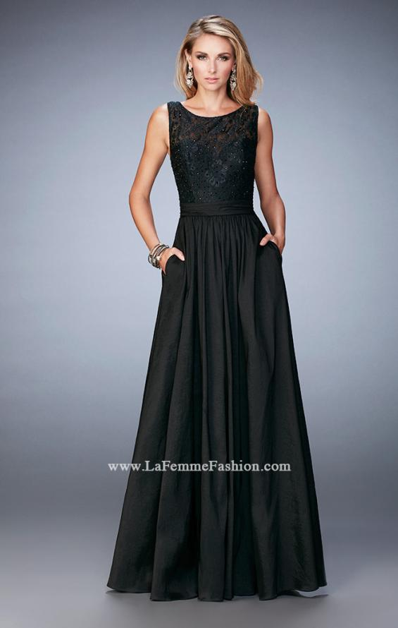 Picture of: Lace Top Taffeta Gown with Open Back and Pockets, Style: 22446, Detail Picture 1