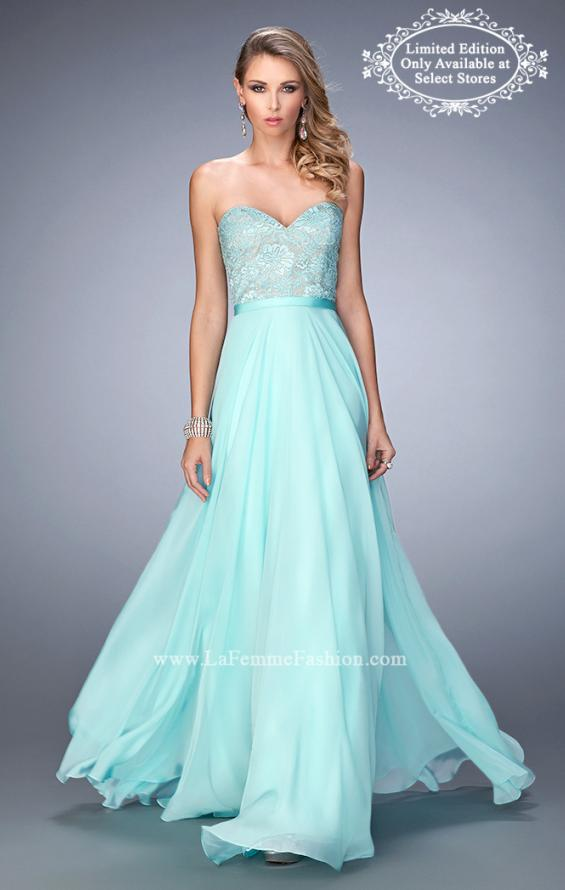 Picture of: Chiffon Prom Dress with Rhinestone Lace Bodice, Style: 22448, Main Picture