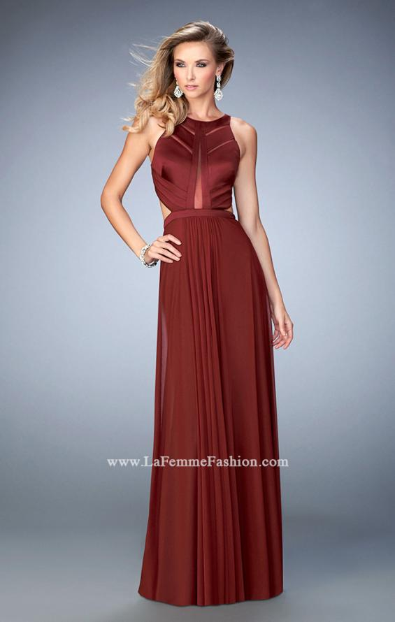 Picture of: Long Prom Dress with Geometric Cut Out Bodice in Red, Style: 22450, Main Picture