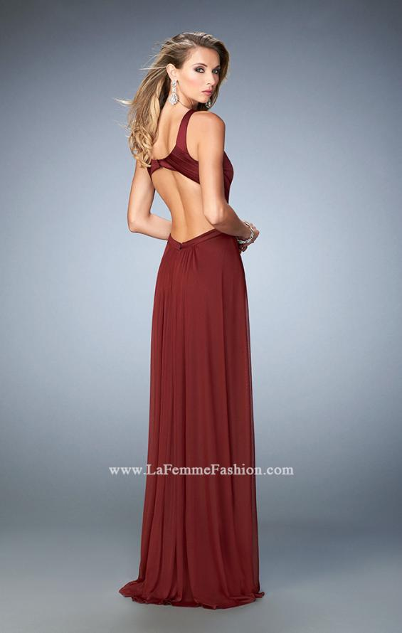 Picture of: Long Prom Dress with Geometric Cut Out Bodice in Red, Style: 22450, Back Picture