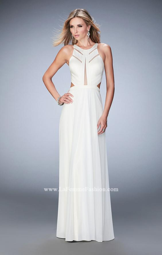 Picture of: Long Prom Dress with Geometric Cut Out Bodice in White, Style: 22450, Detail Picture 1