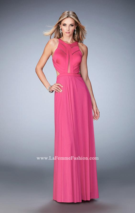 Picture of: Long Prom Dress with Geometric Cut Out Bodice in Pink, Style: 22450, Detail Picture 2