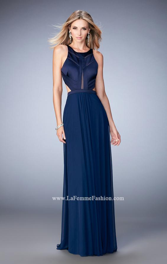 Picture of: Long Prom Dress with Geometric Cut Out Bodice in Blue, Style: 22450, Detail Picture 3