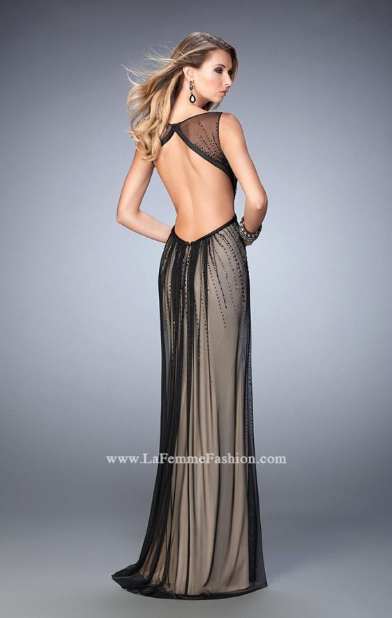 Picture of: Elegant Prom Gown with Black Beading and Open Back in Black, Style: 22464, Back Picture