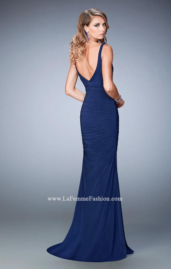 Picture of: Net Gown with Plunging Neckline and Ruched Skirt, Style: 22475, Back Picture