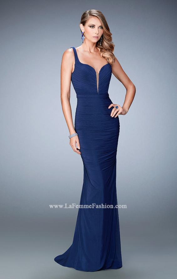 Picture of: Net Gown with Plunging Neckline and Ruched Skirt, Style: 22475, Detail Picture 1