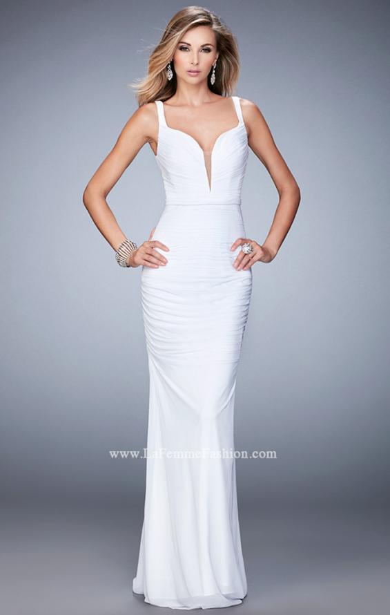 Picture of: Net Gown with Plunging Neckline and Ruched Skirt, Style: 22475, Detail Picture 2