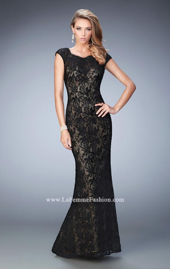 Picture of: Lace Prom gown with Open Back, Train, and Rhinestones, Style: 22479, Main Picture