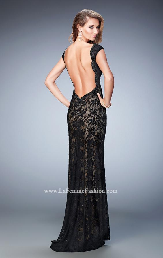 Picture of: Lace Prom gown with Open Back, Train, and Rhinestones, Style: 22479, Back Picture