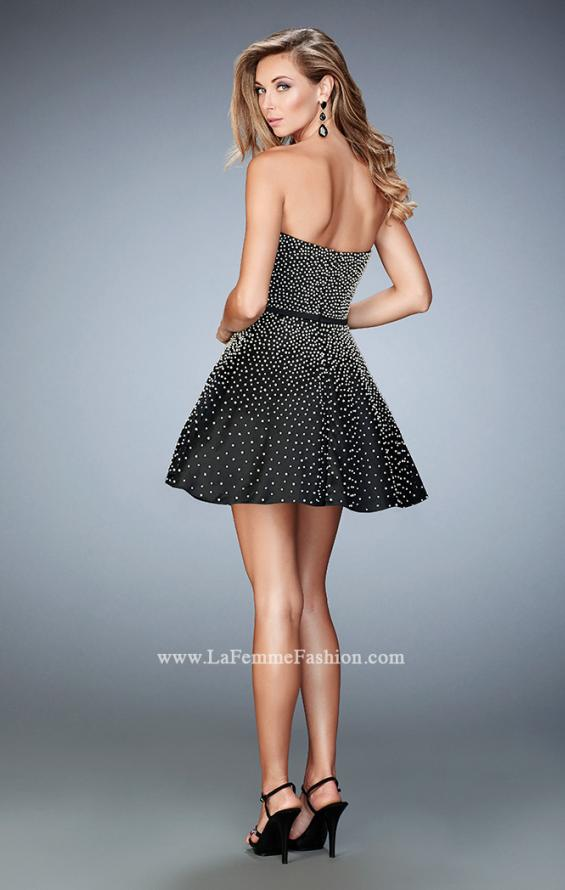 Picture of: Short Stretch Satin Gown with Pearls and a Bow in Black, Style: 22485, Back Picture