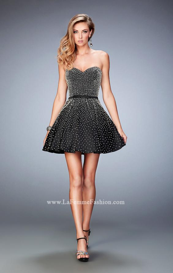 Picture of: Short Stretch Satin Gown with Pearls and a Bow in Black, Style: 22485, Detail Picture 1