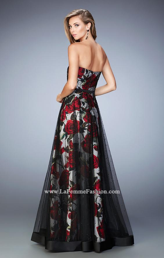 Picture of: A-Line Gown with Flower Printed Lining and Rhinestones in Print, Style: 22489, Back Picture