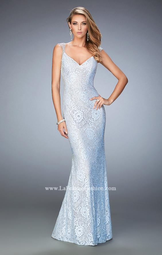 Picture of: Stretch Lace Prom Dress with Sheer Cap Sleeves and Back in Blue, Style: 22493, Main Picture